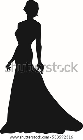 Luxury Luxurious Woman Silhouette In Red Dress Vector