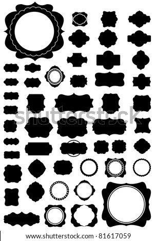 Silhouette Vector set of 50 frames and vintage style. - stock vector