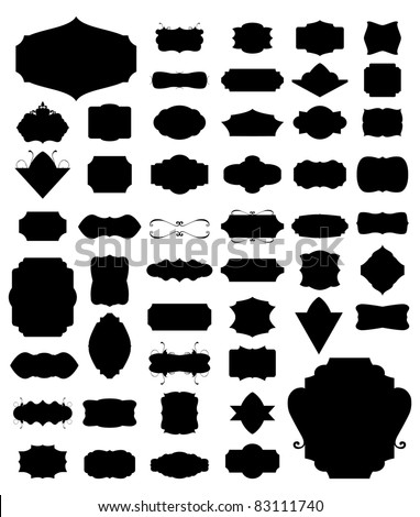 Silhouette Vector set of 50 frames and vintage style. 02 - stock vector