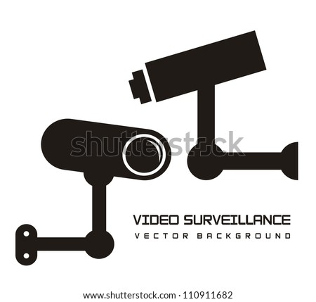 silhouette video surveillance isolated over white background. vector illustration - stock vector