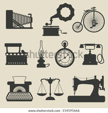 silhouette vintage stuff icons set. vector illustration - stock vector