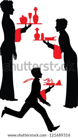 Silhouette Waiter with the tray vector illustration - stock vector