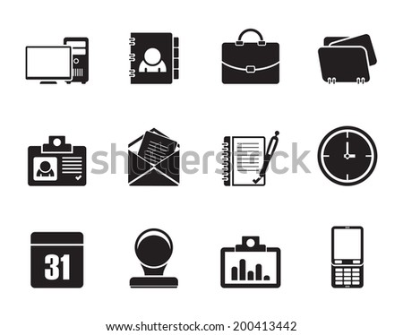 Silhouette Web Applications,Business and Office icons, Universal icons - vector icon set