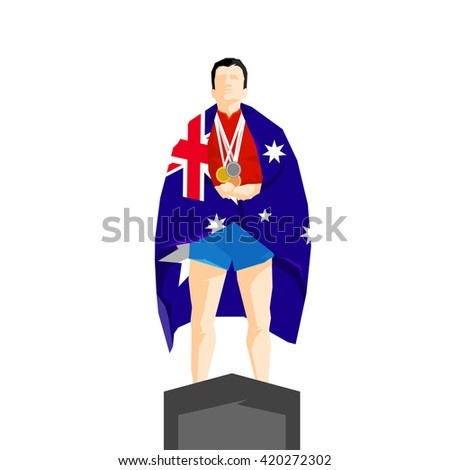 Silhouette winner on the podium with flag Australia - stock vector