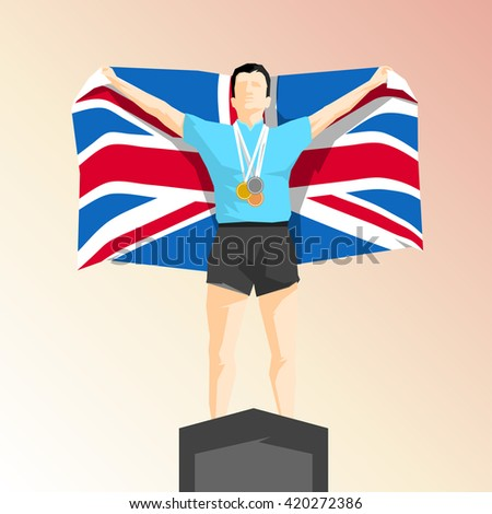 Silhouette winner on the podium with flag United Kingdom - stock vector