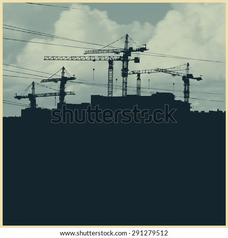 Silhouette with a cranes and constructions of a modern high-rise buildings. Modern urban buildings. vector illustration. vector illustration - stock vector