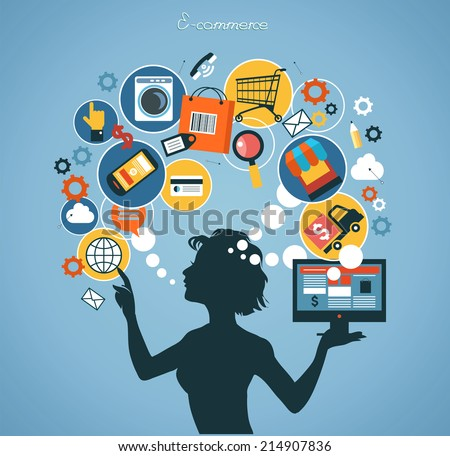 Silhouette woman shopped online store. E-shopping concept. - stock vector
