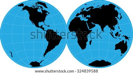 Silhouette world map on round blue stock vector 324839588 shutterstock silhouette world map on round blue background of the earth gumiabroncs Image collections
