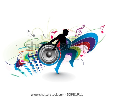 silhouetted a young man enjoy music in floral wave background, vector illustration. - stock vector