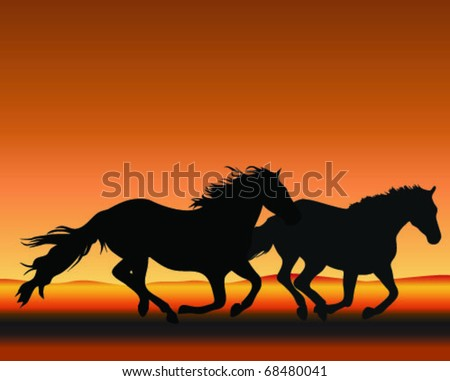 silhouetted horses gallop on sunset - stock vector