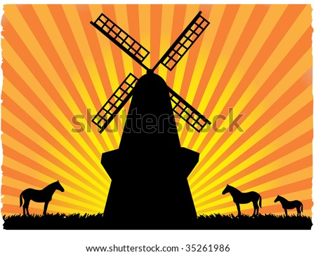 Silhouetted horses in field standing next to windmill - stock vector