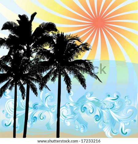 Silhouetted palm trees at sunset with waves - stock vector
