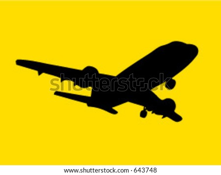 silhouetted plane taking off - stock vector