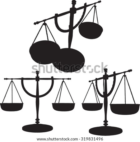 Silhouetted Scales of Justice - Vector - stock vector