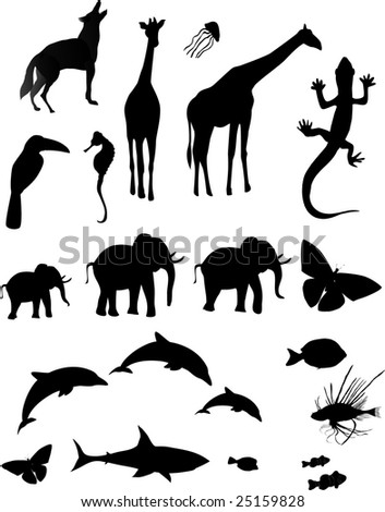 Silhouetted shapes of various animals