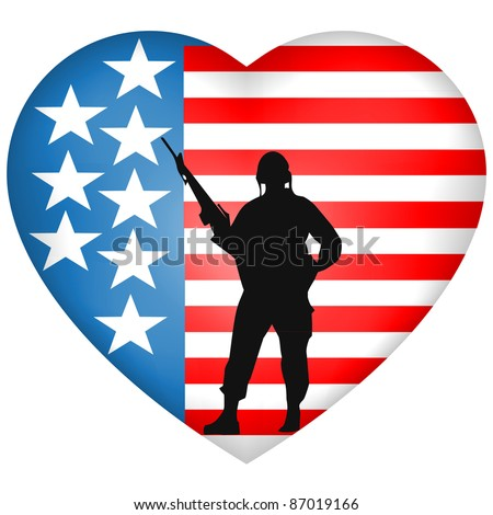 Silhouetted Soldier heart American Flag - stock vector