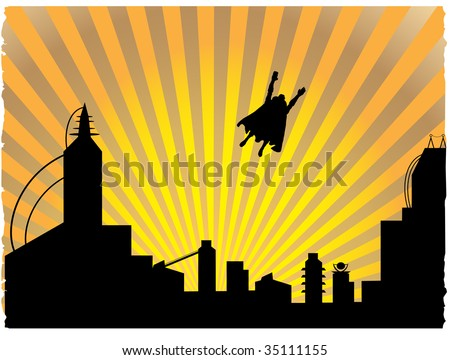 Silhouetted  superhero flying off into the sunset - stock vector