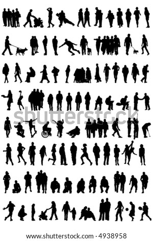 Silhouetted vectors of people [may need to manually edit each icon] - stock vector