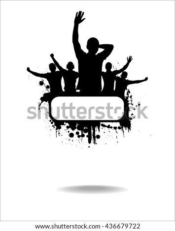Silhouettes and posters with cheering people  - stock vector