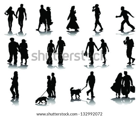 Silhouettes and shadow of walking people-vector