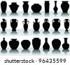 silhouettes and shadows of the vases and jars-vector - stock vector