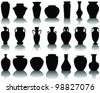 silhouettes and shadows of the vases and jars 2-vector - stock vector
