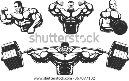 Silhouettes athletes bodybuilding - stock vector