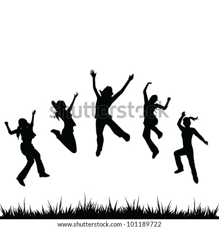 silhouettes children background - stock vector