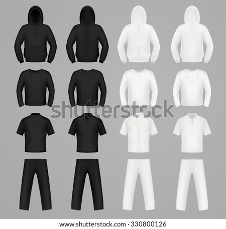 Silhouettes clothes black and white colors, hoodie, t-shirt and Long sleeve, pants - stock vector