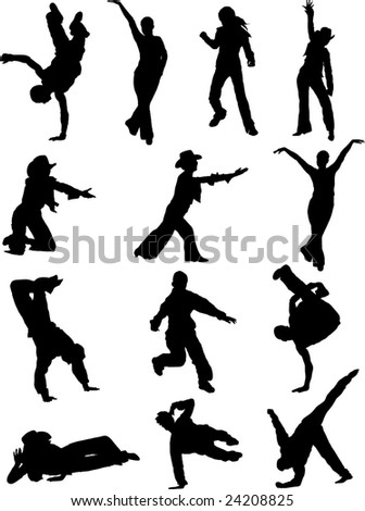 Silhouettes dancing pair and girl - stock vector
