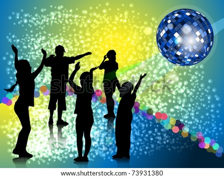 Silhouettes dancing teenager on dance platform on background of the mirror ball and bright glare - stock vector