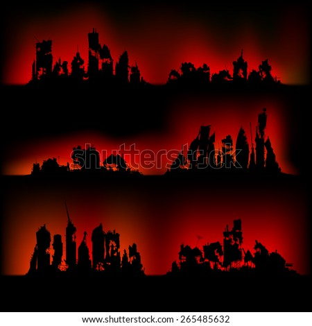Silhouettes destroyed cities on fire - stock vector