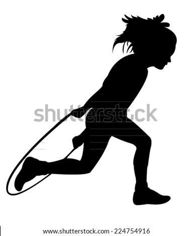 Silhouettes girl, jumping rope-vector  - stock vector