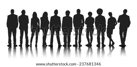 Silhouettes Group of People in a Row - stock vector