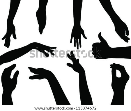 Silhouettes hands 2-vector - stock vector
