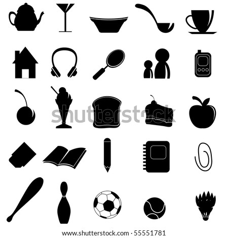 silhouettes items - stock vector