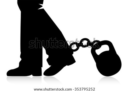 silhouettes legs go to the foot of the chain fastened with weights.  - stock vector