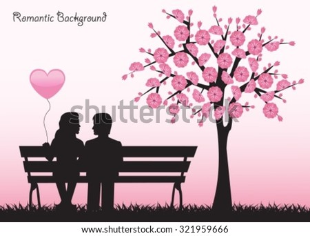 Silhouettes loving couple sitting on a bench next to a cherry tree with flowers. - stock vector