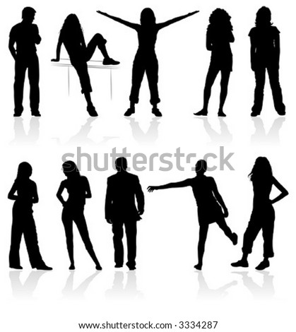 Silhouettes man and women, element for design, vector illustration