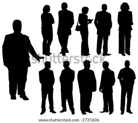 Silhouettes man and women, vector illustration