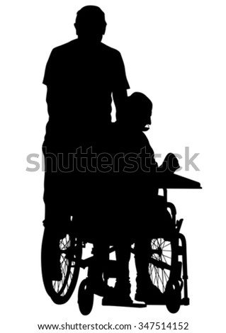 Silhouettes man in wheelchair on white background - stock vector