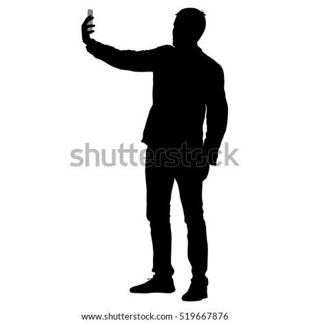 Silhouettes man taking selfie with smartphone on white background. Vector illustration.