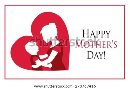 Silhouettes mother and child on the background of the heart  - stock vector