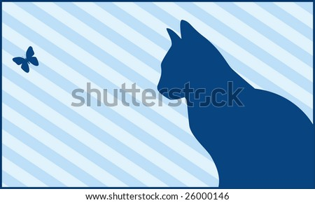Silhouettes of a cat and the butterfly on a blue striped background - stock vector