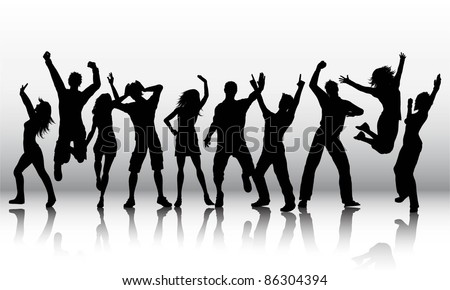 Silhouettes of a group of party people - stock vector