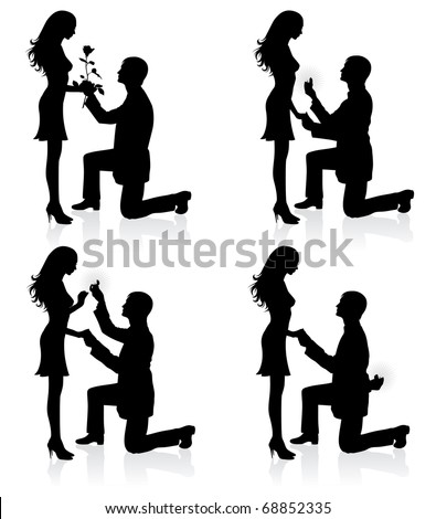 Silhouettes of a man proposing to a woman while standing on one knee.