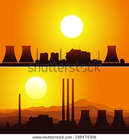 Silhouettes of a nuclear power plants at sunset. Vector illustration.   - stock vector