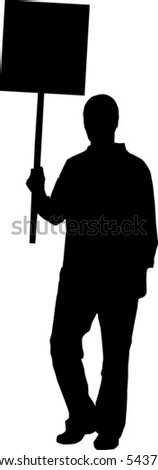 Silhouettes of a person holding a sign - stock vector