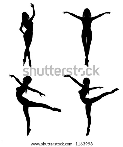 silhouettes of a woman in ballet poses - stock vector