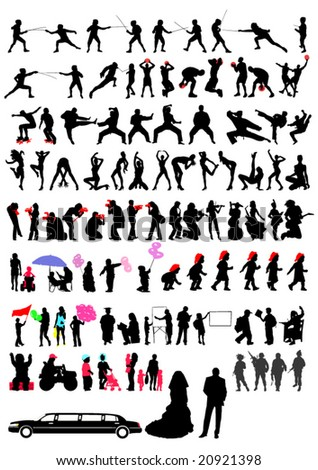 Silhouettes of active people and children. 100 silhouettes